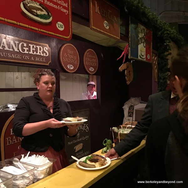 plate of bangers at The Great Dickens Christmas Fair in San Francisco
