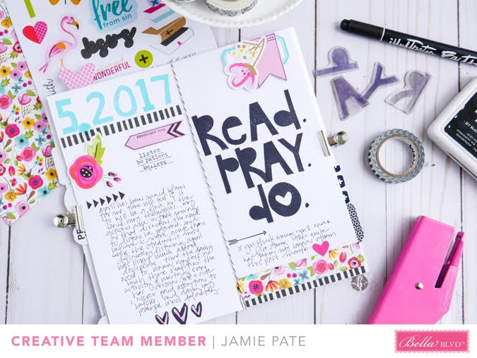How to use a traveler's journal and Illustrated Faith Stamps as a prayer journal by Jamie Pate  |  @jamiepate for @bellablvd