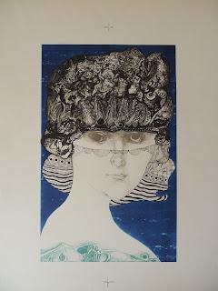 Modest Cuixart litografía mujer color