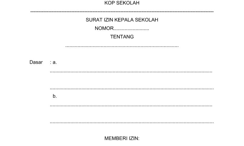 Contoh Format Bentuk Surat Izin KEPSEK untuk Perlengkapan Perangkat Administrasi TU