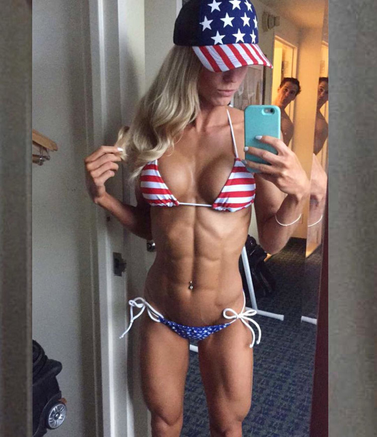 Fitness model Rachel Scheer shows