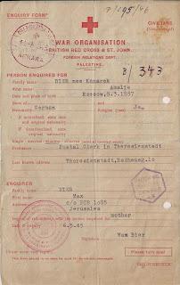 בקשת בירור שנשלחה לצלב האדום 1945