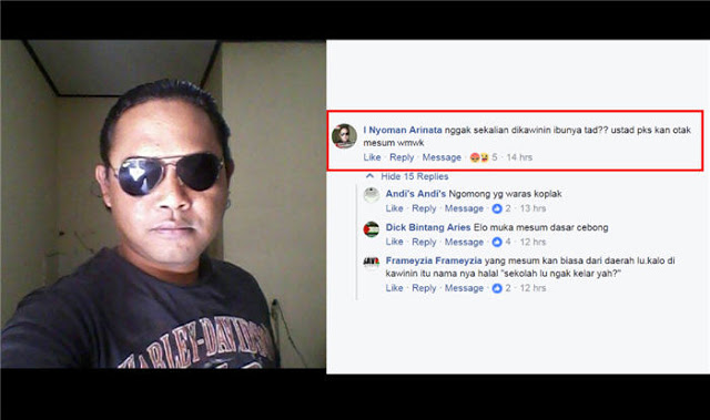 "Lecehkan Ustadz Surahman Hidayat, I Nyoman Arinata Sebut ""Ustad PKS Otak Mesum"""