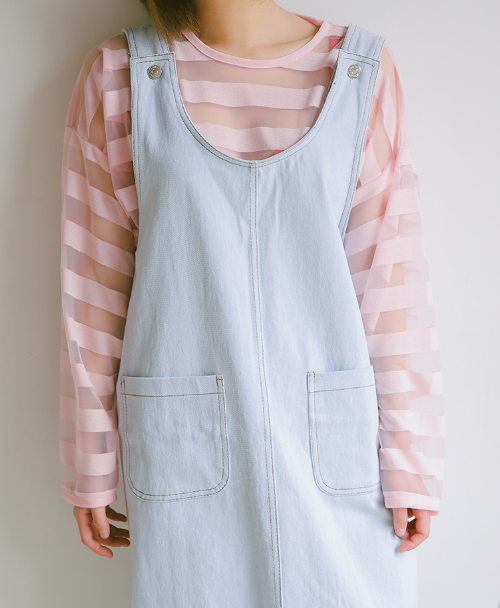 Buttoned Side Denim Overall Dress