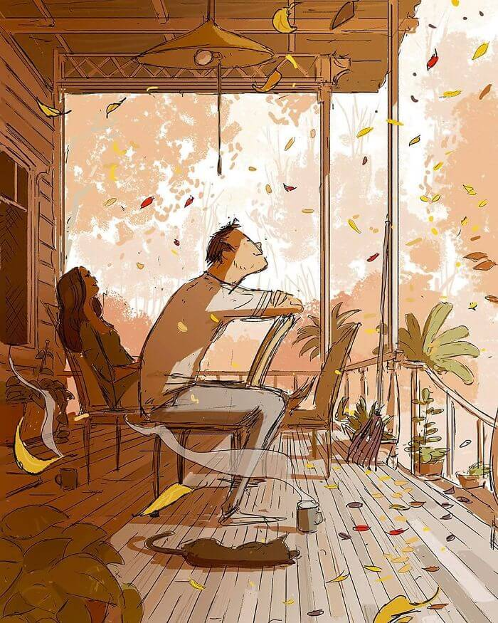 Man Creates Heartwarming Illustrations Of The Everyday Life With His Wife - Watching the autumn leaves falling as you grow older together