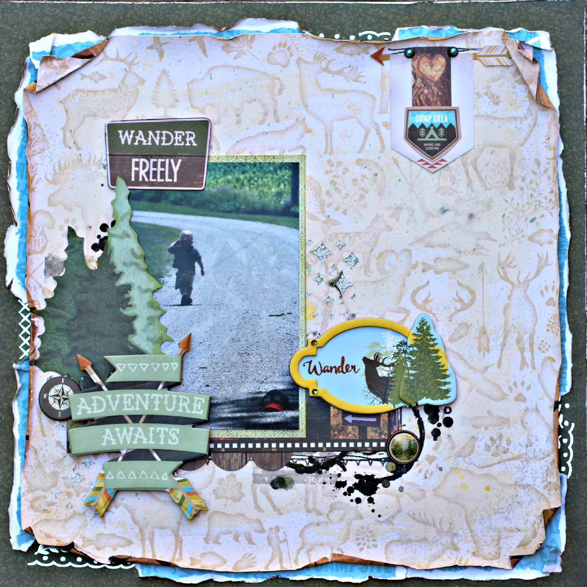 Scrapbook ideas adventure - Adventure Awaits Scrapbook Page Featuring Take A Hike Collection By Bobunny Designed By Rhonda Van Ginkel