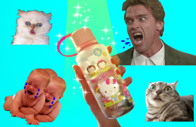 Hello Kitty Water Bottle Photo Montage With Screaming Arnold Schwarzenegger, Crying Babies and Frightened Cats