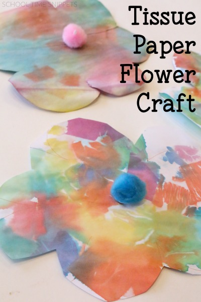 Bleeding tissue paper is such a fun medium for kids to use!  My kiddos loved creating colorful spring flowers!