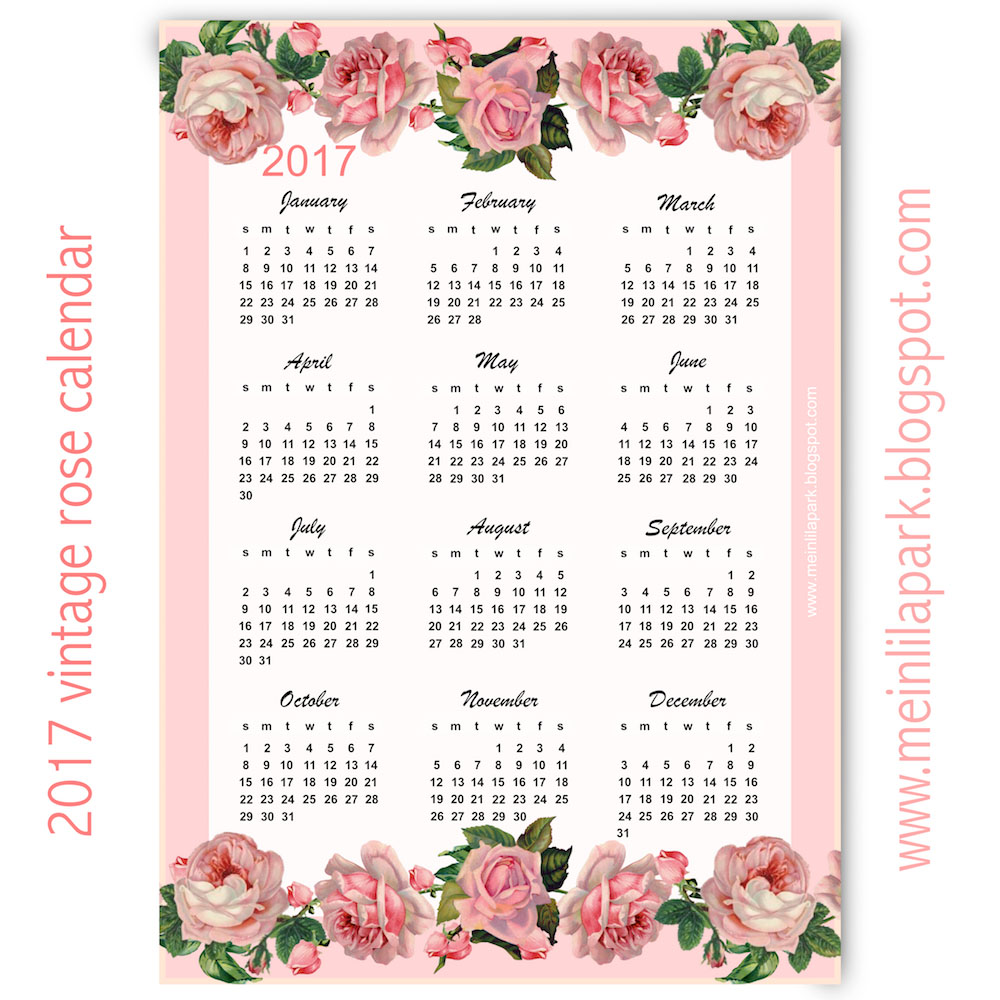 Free printable 2017 vintage rose calendar - year at a glance - freebie ...