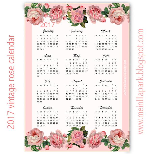 ... 2017 vintage rose calendar - year at a glance - freebie | MeinLilaPark
