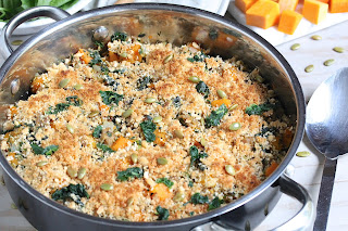 Skillet Sausage Butternut and Spinach with Crumb Topping