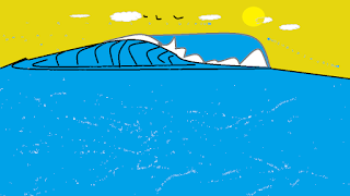 Doodle of cresting wave in the ocean complete with sky, sun, and seagulls