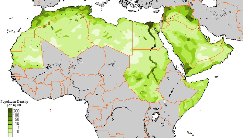 Population density of the Arab World