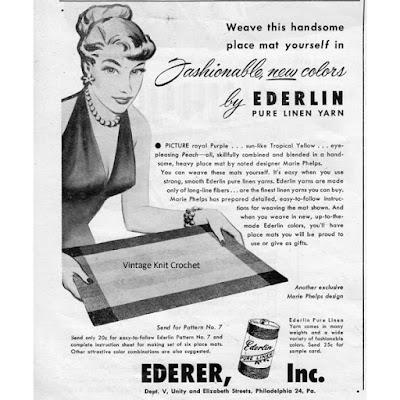 Vintage Ederlin Pure Linen Yarn Advertisement
