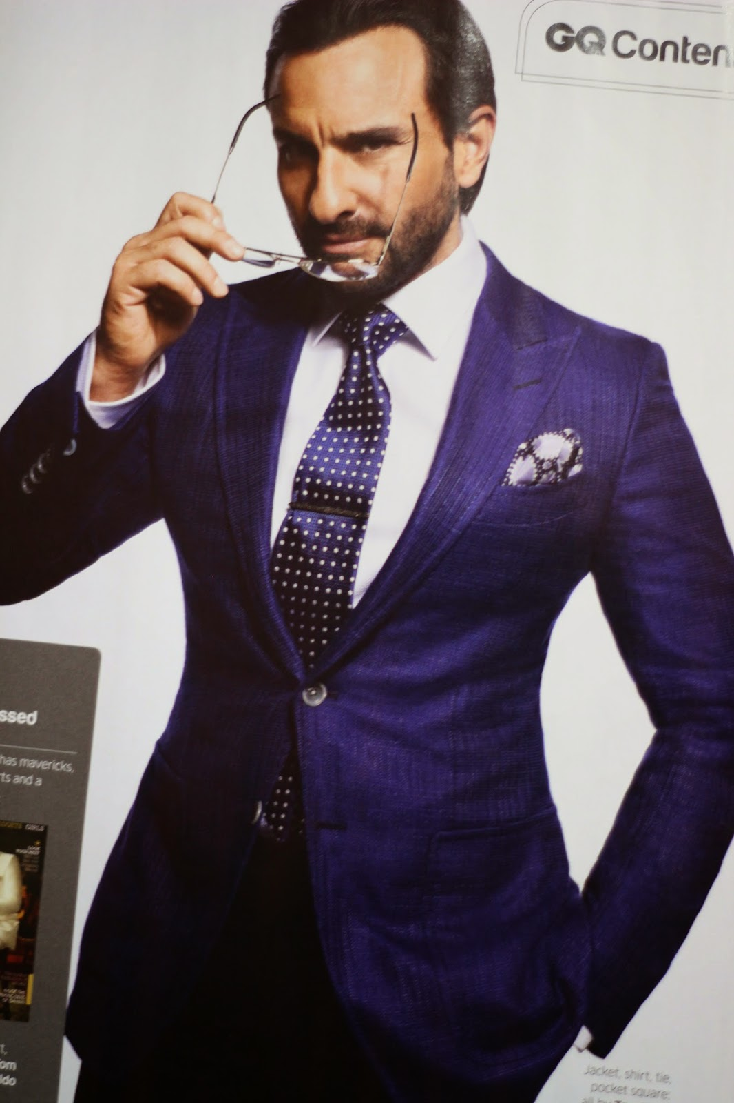 358e689a36 Saif Ali Khan in Double Breasted White Suit Covers GQ India June 2014