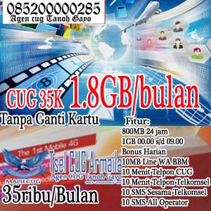 Cara Daftar CUG Telkomsel Internet 1.8GB 35 Ribu Perbulan