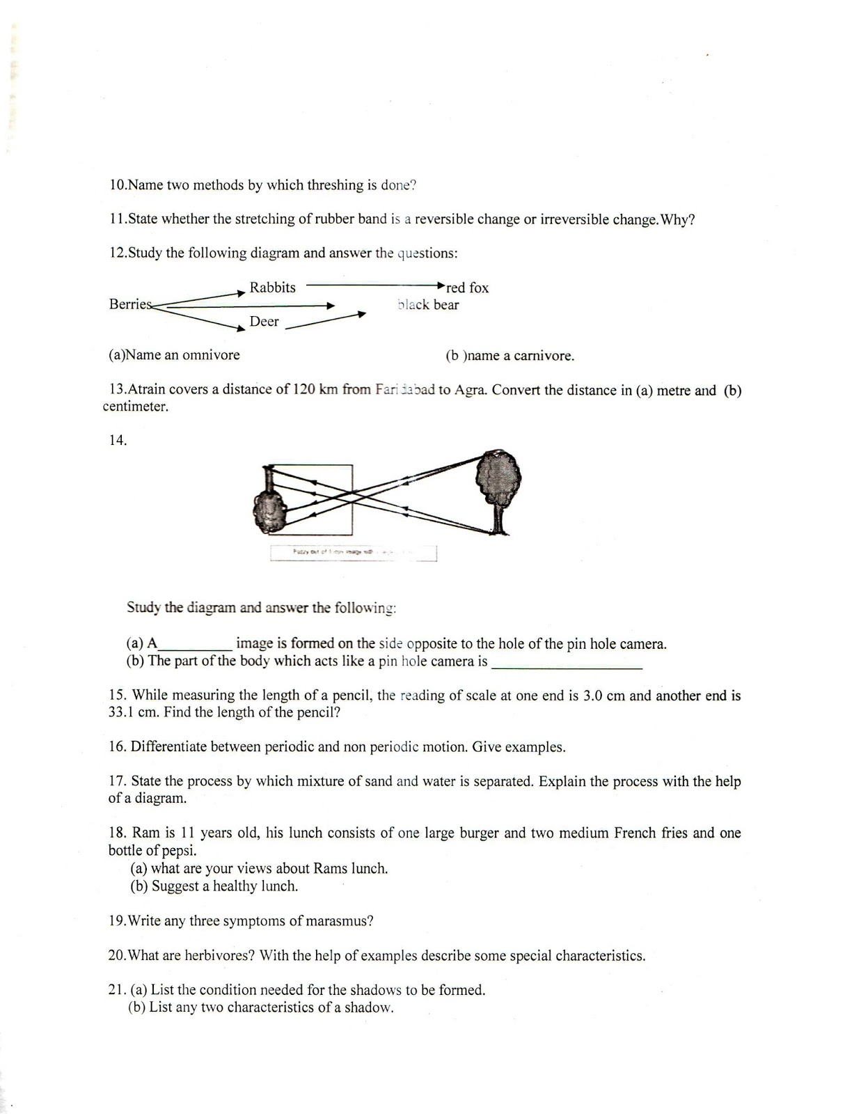 Class 6 Science Model Question Paper