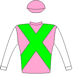 Made To Conquer - Silks - Owner: Messrs E A Braun, C T Crowe & N Jonsson - Colours: Cyclamen, spectrum green crossed sashes, white sleeves, cyclamen cap