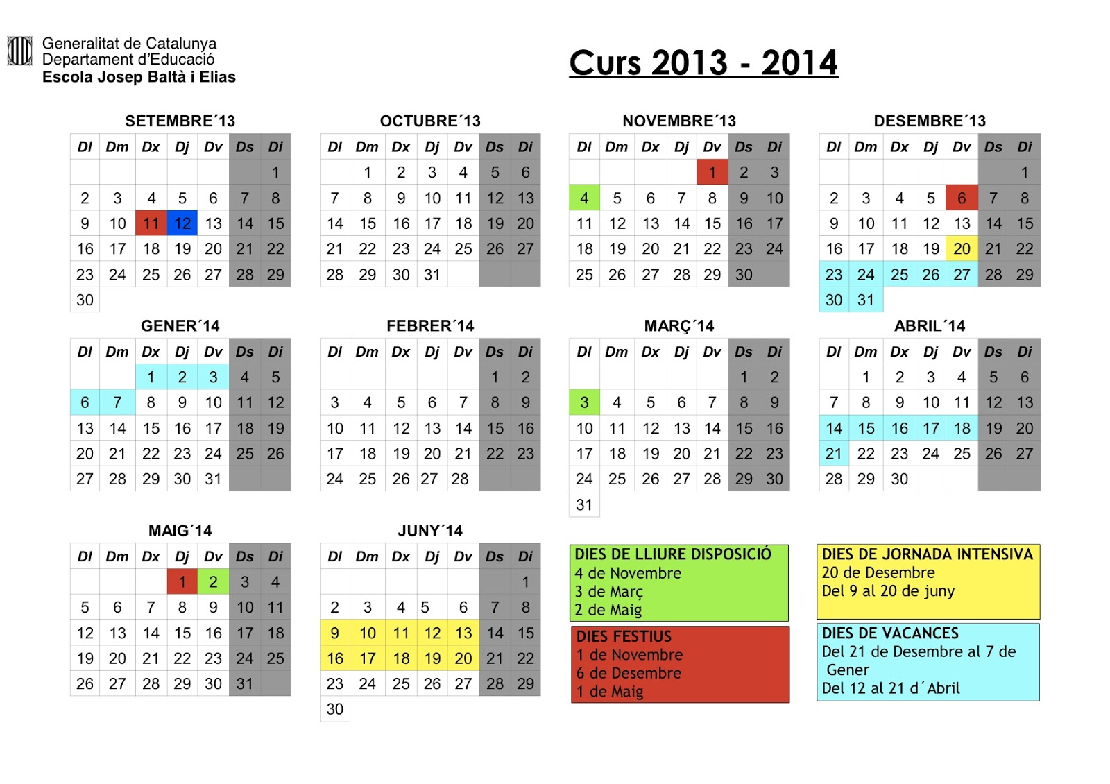 Ampa j balt i elias calendari curs 2013 2104 for 2104 calendar template