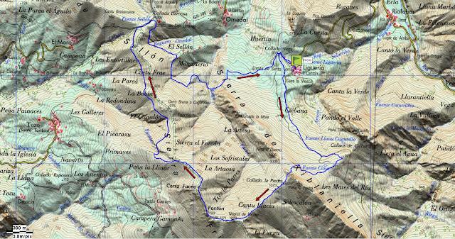 Mapa topográfico ruta Facéu.