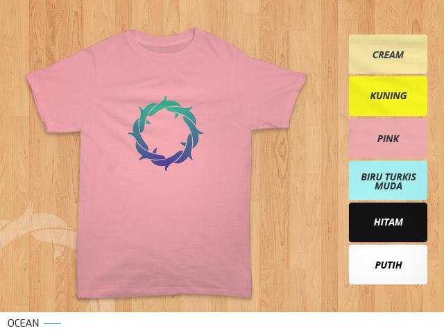 tampilan desain kaos mahkota duri ocean di kain warna pink / merah muda