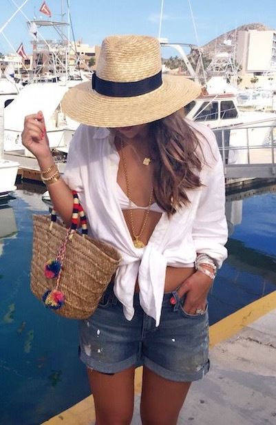 cute vacation summer outfit / hat + bag + white shirt + denim shorts