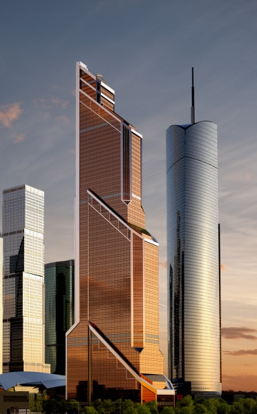 Rendering of new Europe's tallest skyscraper along with the Federation Tower