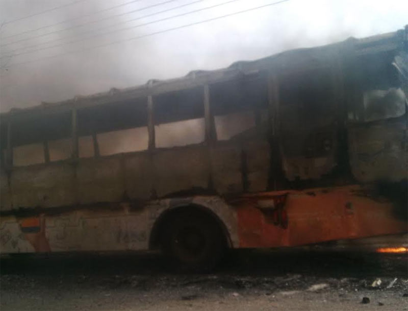 BRT bus explodes in flames at 3rd Mainland Bridge, Lagos