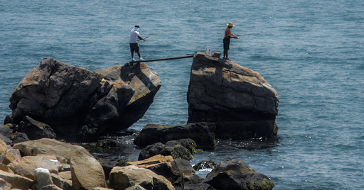 Fishing on the coast at Bluff Point State Park