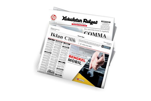 pasang iklan bengkel di koran Kedaulatan Rakyat
