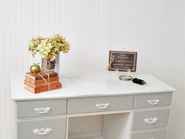 Vintage Executive Wooden Desk with Carte Postale Graphic