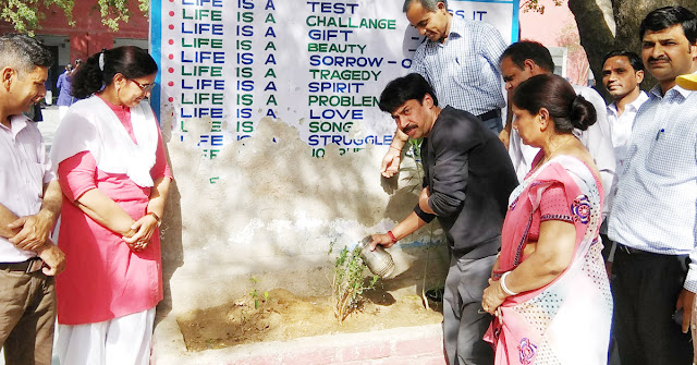 Planting by the councilor at Government School Sarai Khawaja Vidyalaya