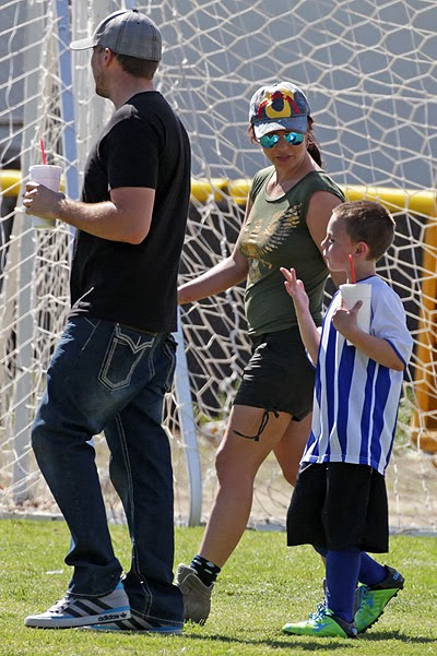 Britney Spears David Lucado son at a football match