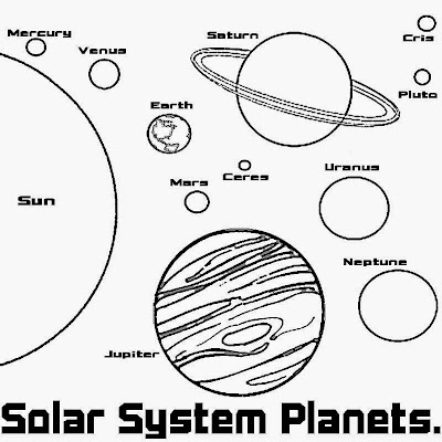 The big sun 9 and Planets space age map solar system coloring pages free school learning activities