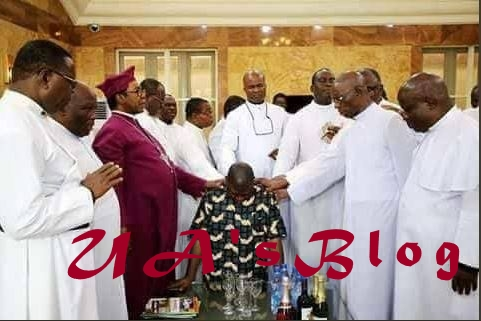 Prayer Warriors Storm Ekweremadu's House, Lay Hands On Him Amidst EFCC Interrogation Drama (Photo)