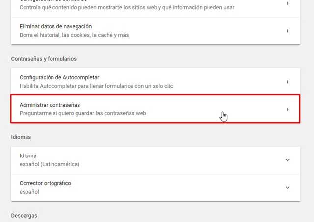 Administrar contraseñas google chrome