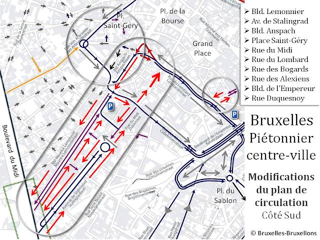 Bruxelles - Piétonnier du centre-ville - Accès côté sud - Modification du plan de circulation 2016 - Bruxelles-Bruxellons