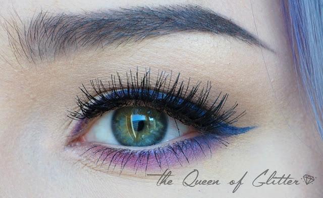 Värikäs silmämeikki Ardellin irtoripsillä sekä violetilla luomivärillä.
