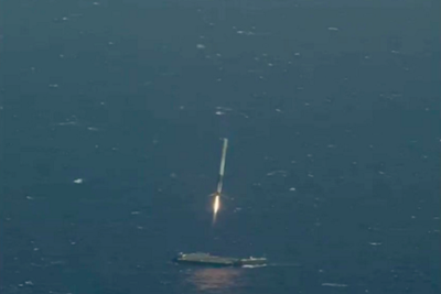 Falcon 9 about 50 metres above the barge