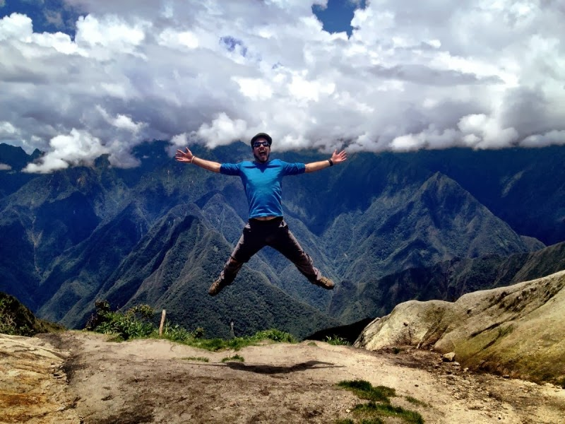 Simon Heyes jumping at Phuyupatamarca - Inca Trail, Peru