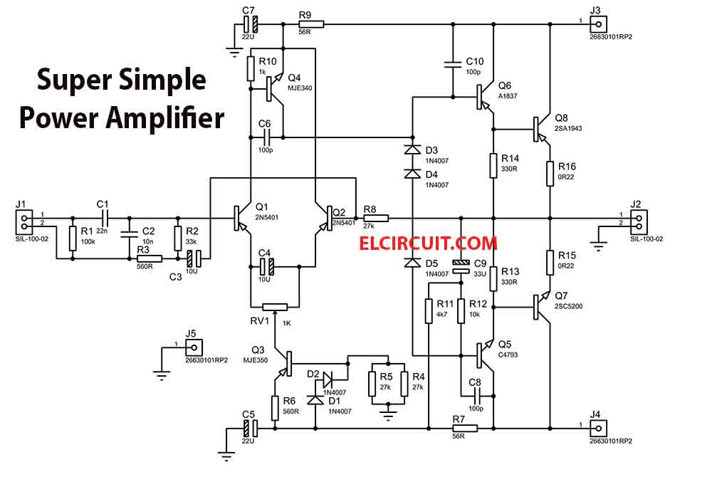 200w super simple power amplifier - electronic circuit  electronic circuit
