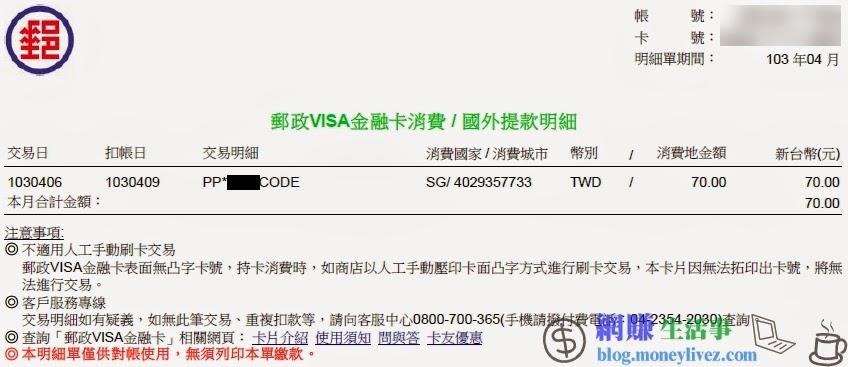 郵政VISA金融卡消費-國外提款明細單