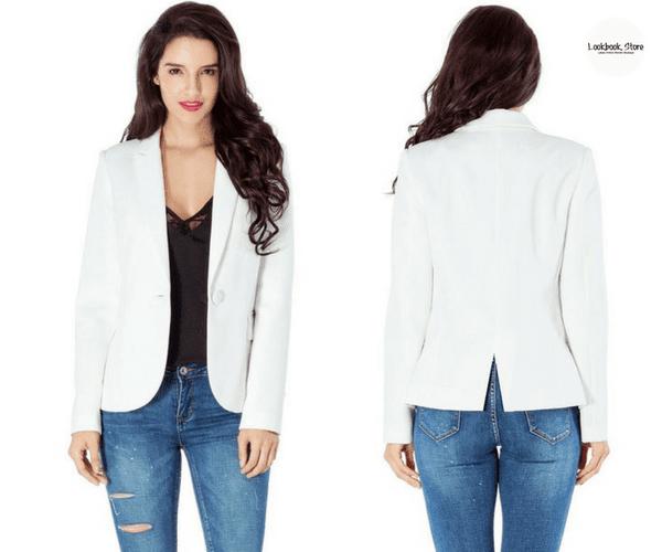 White Back-Slit Notched Lapel Blazer | Lookbook Store