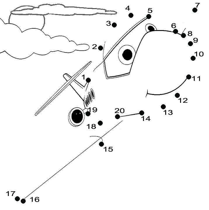 Aeroplane Dot to Dot Worksheets