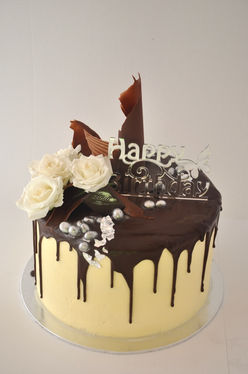 A Milk Chocolate Crazy Cake With White Roses And Touch Of Silver For Lovely 50 Year Old Birthday Girl I Made This Last Week In