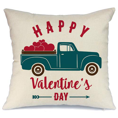 Truck with Hearts Pillow