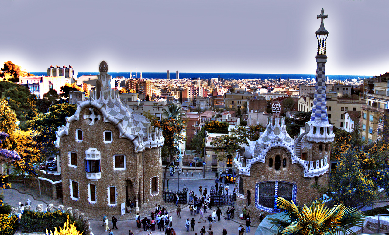Parc Guell's main entrance in Barcelona, Spain