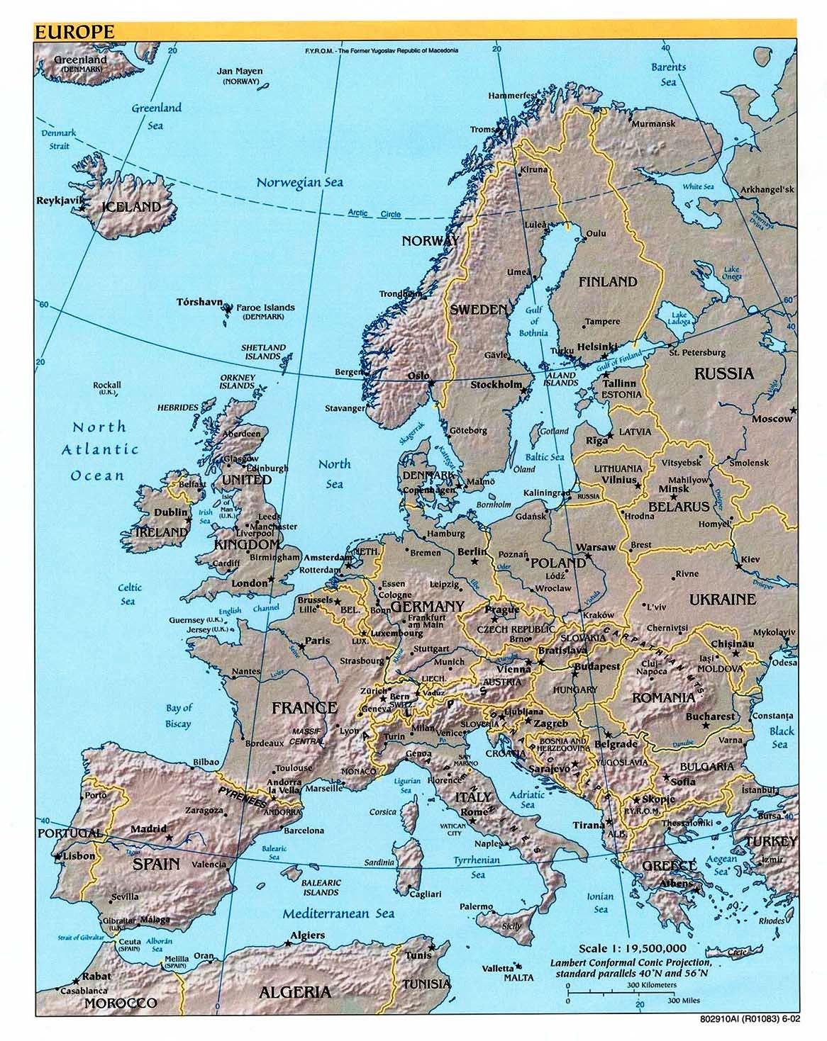 Europa Karte Physisch.Physische Landkarte Von Europa 2002 Englisch Weltatlas