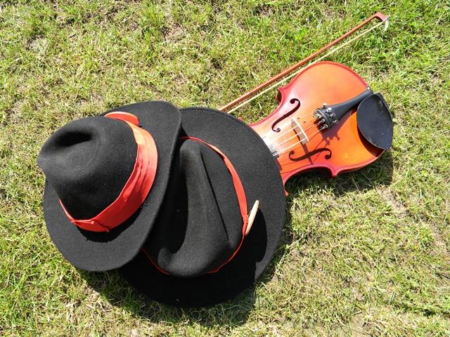 kapelusze, instrument, trawa, występ