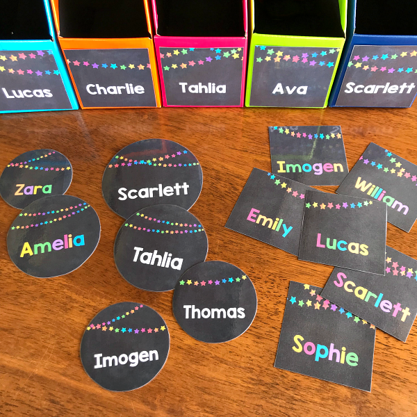 Editable Rainbow Star Classroom Labels | you clever monkey